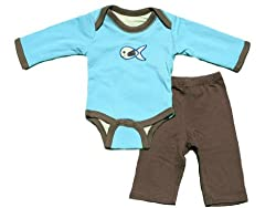 Turnovers Guppie Reversible Clothing Set 6-12 Months Blue/Brown