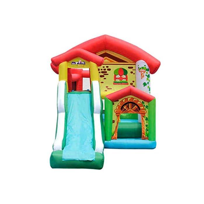 41efzZrOqQL El castillo inflable para niños tiene una gran capacidad de carga, puede acomodar a 4-6 niños al mismo tiempo para jugar al mismo tiempo e incluso puede acomodar a más niños, para que los niños puedan aumentar la interacción con otros niños, más sanos y felices al crecer. El castillo inflable para niños se puede usar en interiores, sala de estar o dormitorio, y se puede usar en exteriores, jardines, parques, jardines de infantes, parques infantiles, salidas al aire libre y otros lugares, lo que es muy conveniente, mientras que también es muy conveniente para el almacenamiento. gratis. El castillo inflable está hecho de material oxford ecológico de alta calidad. La parte inferior es de diseño grueso y antideslizante, resistente al desgaste, flexible y tiene una mayor fuerza de rebote. Al mismo tiempo, se agrega la protección de seguridad de la barra lateral y de aumento para que sus hijos jueguen.