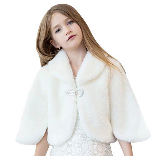 Faux Fur Wedding Flower Girl Shrug Princess Kid Wrap Cape White 2T by Tortor 1Bacha