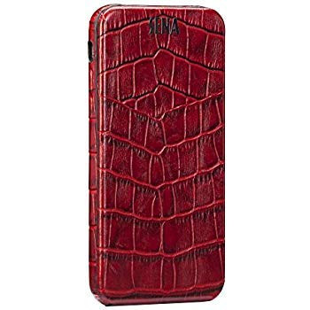 Sena Magnet Flipper, All Leather Flip Closure case for iPhone 6/6s - Croco Red