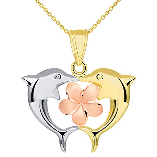 14k Tri Color Gold High Polish Kissing Dolphins with Hawaiian Plumeria Flower Pendant Necklace, 16