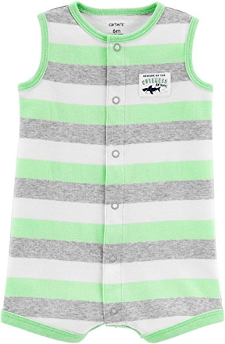 (Carter's Baby Boys' Shark Striped Snap-up Cotton Romper 9 Months Gray/Green)