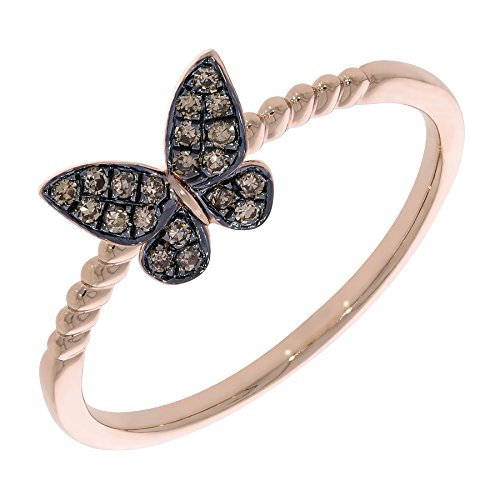 Prism Jewel Round Natural Brown Diamond Butterfly Style Ring, 10k Rose Gold Size - Butterfly 10k Ring