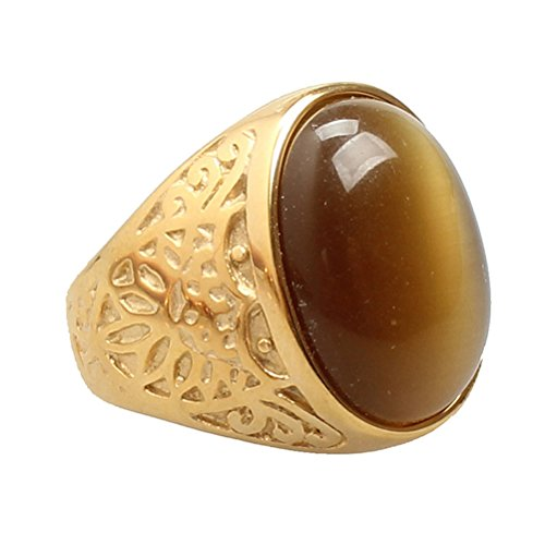 Oakky Jewelry Men's Vintage Stainless Steel Coffee Gemstone Rings, Gold Size 8
