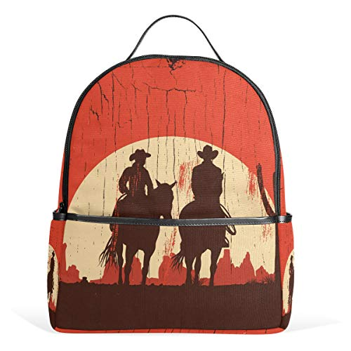 School Backpack Daypack Art Sunset Cowboy Knight Sharpshooter Cactus Vinta Lightweight Canvas Book Bag for boys girls Kids Teens Women