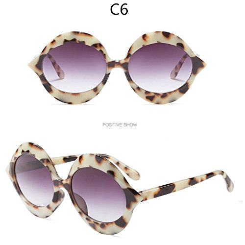 Bastidor C6 Sol Gafas C5 De Rosa Sol Redonda Mujer Leopardo De Tonos Gafas Uv De Redondo Gafas Negro TIANLIANG04 F0gqxF1