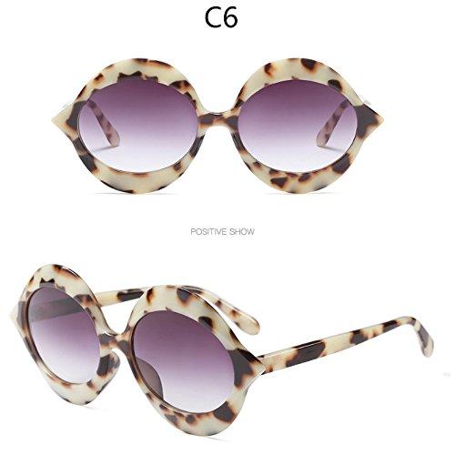 Tonos Gafas Rosa Sol Redondo TIANLIANG04 Bastidor Sol Gafas Redonda De C5 De De Leopardo Mujer Gafas C6 Uv Negro 7qOZW17