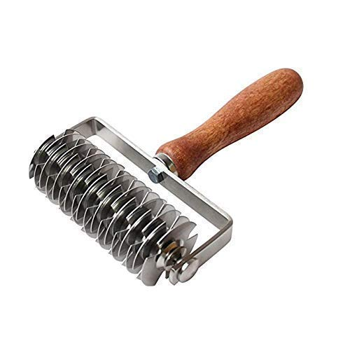 Stainless Steel Roller Cutter,LiYou Dough Lattice Top Cookie Pie Pizza Bread Pastry Crust Roller Cutter with Wood handle