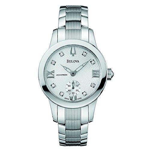 Bulova Accutron Masella Silver Diamond Dial Stainless Steel Ladies Watch 63P01