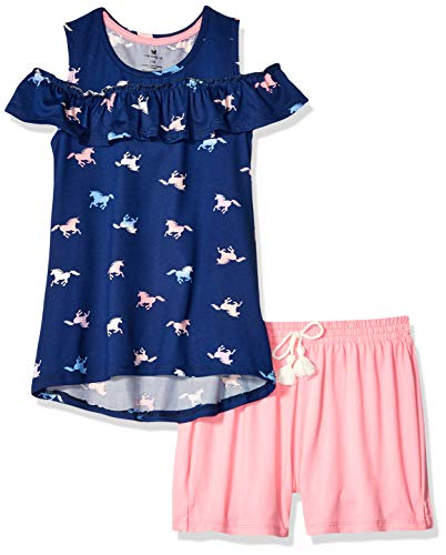 One Step Up Girls' Big Soft Knit Top and Short Set, Navy Unicorn, 10/12