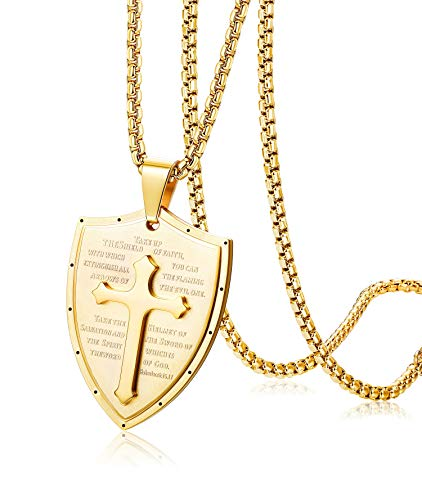 Finrezio Shield Armor of God Ephesians 6:16-17, Faith Cross Stainless Steel Pendant Necklace (Gold Tone) ()