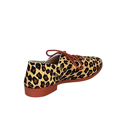 Fereshte Kvinner Damene Ekte Skinn Lukket Tå Snøre På Flate Sko Arbeid Pumper Leopard