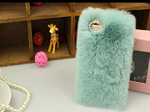 5C CaseFusicase iphone 5C caseFusicase fashion style and design New Rex Rabbit Fur Hair Sleeve Plush Fitted Back predicament Cover for iphone 5CBlue Cases