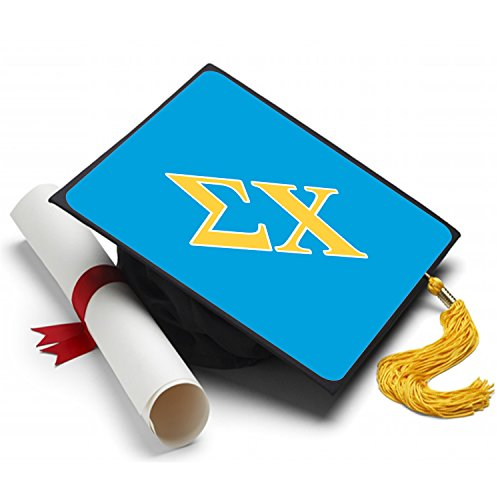Sorority Big Little Reveal Costumes (Sigma Chi Graduation Cap Hat Topper Decoration Fraternity 8.5 x 8.5 Inch)