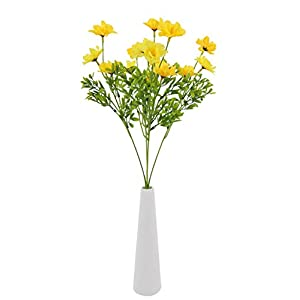 Skyseen 5Pcs Artificial Azalea Fake Faux Bouquet Home Garden Table Patio Wedding Party Decoration (Yellow) 14