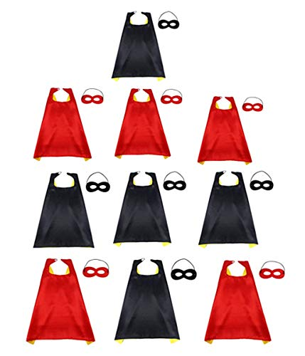 TECH-P Creative Life 10 Set Capes and Masks For Superhero Cosplay - DIY Children Capes For Birthday Party Halloween.]()
