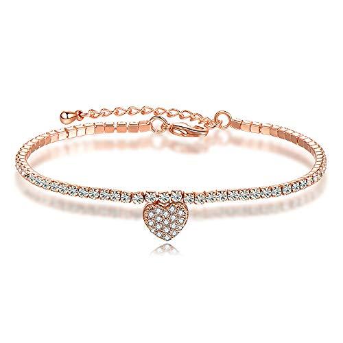 Meangel Love Heart Initial Charm Bracelets Women Girls Stainless Steel Chain Adjustable Forever (Initials Stainless Steel Bracelet)