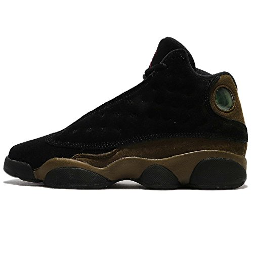 - Jordan Nike Kids Air 13 Retro BG Black/True Red/Light Olive Basketball Shoe 5 Kids US