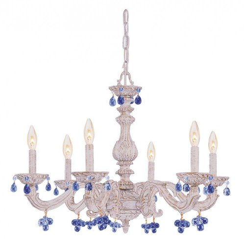 Six Light Antique White Murano Crystal Glass Up Chandelier