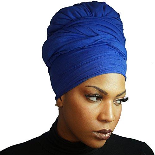 Headwrap in Stretch Jersey Knit - Long Head wrap Scarf - Cobalt ()