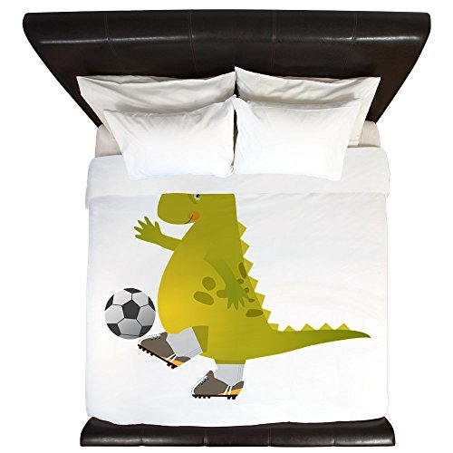 King Duvet Cover Dinosaur Playing Soccer by Truly Teague