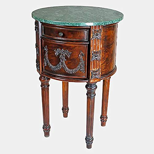 Wood End Table with Marble Top - End Table with Cabinets and Drawer - Medium Brown Wood