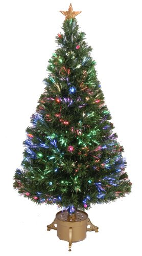 Jolly Workshop Multi-Color LED Fiber 165 Tips 14-Ply Optic Tree Top Star with Berries/Gold Base, 48-Inch (Trees Xmas Optic Fiber)