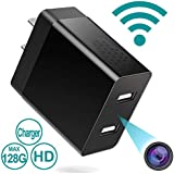 WiFi Spy Camera Wireless Hidden - Mini USB Wall Plug Charger Hidden Camera Auto Secruity Motion Sensor Live View H.264 for Home Office
