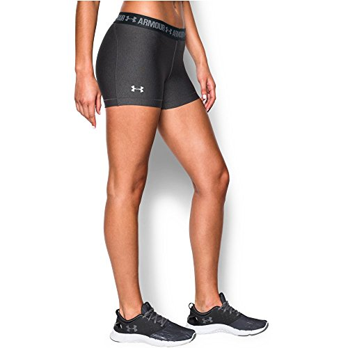 """Under Armour Women's HeatGear Armour 3"""" Shorty, Carbon Heather/Anthracite, Small"""