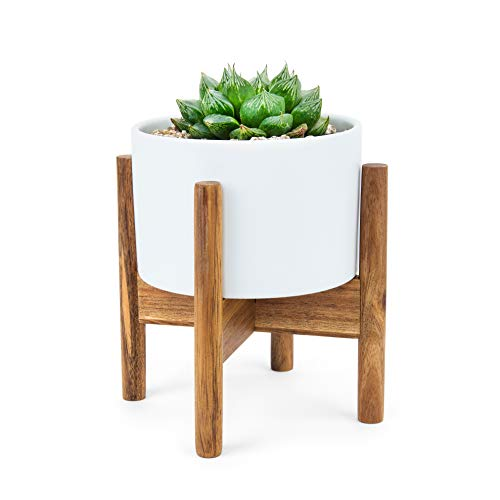 letop Planter | Fyra Ben Mid-Century Modern Ceramic Plant Pot and Wood Stand Set | Small White Round Decorative Shelf Container w/ Drainage Hole | Retro Mini Cactus, Flower Holder. ()