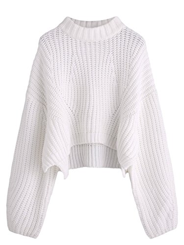 SheIn Women's Mock Neck Drop Shoulder Oversized Batwing Sleeve Crop Top Sweater White One-Size