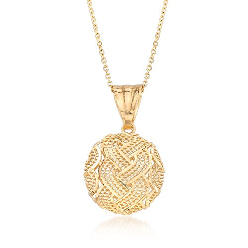 Ross-Simons Italian 14kt Yellow Gold Braid-Patterned Circle Pendant Necklace