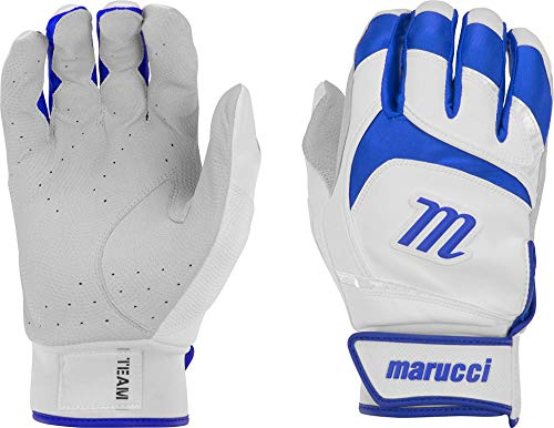 Marucci Adult Signature Batting Gloves (White/Royal, Small)