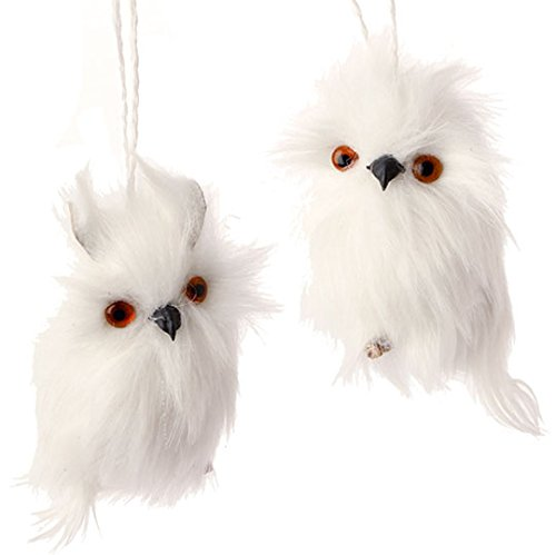 Set of two - 4 inch snowy white owl ornaments