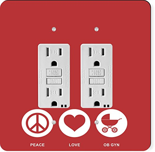 Color Birth Plate (Rikki Knight 42575 Gfidouble Peace Love Ob Gyn Red Color Design Light Switch Plate)