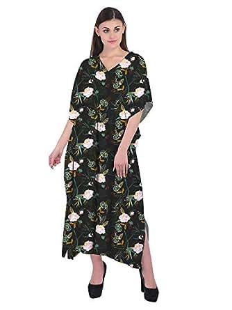 RADANYA Floral Caftan Dresses for Women V Neck Long Kaftan Cover Up Summer Maxi Dress Black