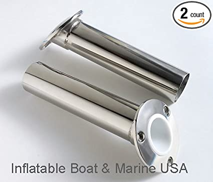 6 Cast Stainless Steel 0 Deg Flush Mount Fishing Rod Pole Holders Heavy Duty