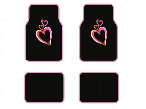 BDK Alfombrillas para Coche Love Pink - Juego Completo de 4 Piezas Delanteras y traseras con Parte Trasera de Goma - Ajuste...