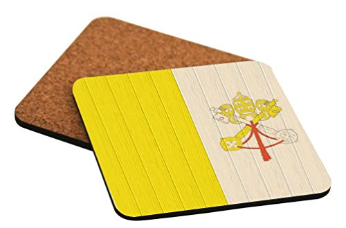Rikki Knight Holy See Flag on Distressed Wood Design Square Beer Coasters by Rikki Knight