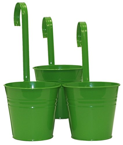 Galvanized Steel Wall - HIT Enameled Galvanized Balcony Wall Fence Planter with Handle (Set of 3), Apple Green