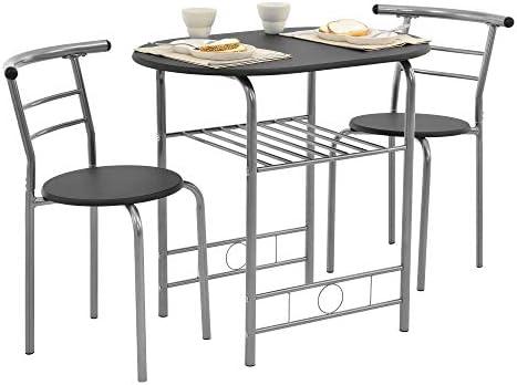 [en.casa] Set mobili Bistro – Tavolo con 2 sedie – Nero/Argento – Metallo, MDF