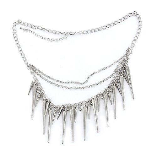 Silver Multilayer Dangle Tassels Necklace