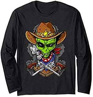 Space Alien Cowboy Cosmic UFO Funny Boys Long Sleeve T-shirt | Size S - 5XL