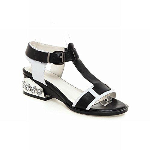 Carolbar Womens Assorted Colors T-strap Buckle Rhinestone Mid Heel Sandals Black (PU Leather)