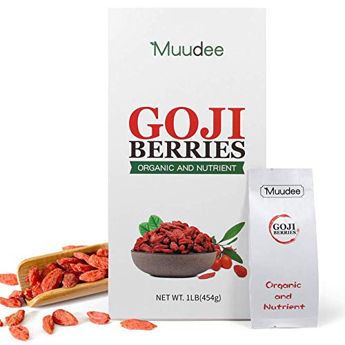 Organic Dried Goji Berries, Muudee Wolfberry, Natural Healthy Vegan Snacks, Non-GMO, 1LB (1oz Pack of 16 Bags)
