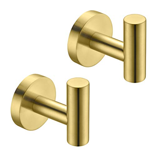 Hoooh Bath Towel Hook - Bathroom Lavatory Wall Mount Single Coat and Robe Hook SUS304 Stainless Steel 2 Pack, Brushed Gold, B100-BG-P2