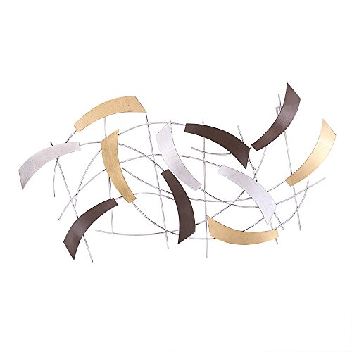 Adeco Abstract Metal Wall Art Home Décor - 35x19.5 Inches