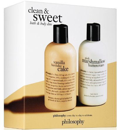Philosophy - Clean and Sweet Bath & Body Duo - Vanilla Birthday Cake Shampoo/Pink Marshmallow Buttercream body lotion by Philosophy