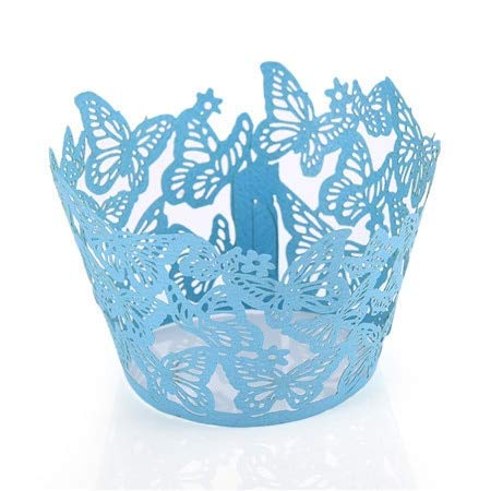 KathShop 50pcs/lot Laser Cut Butterfly Lace Cupcake Wrappers