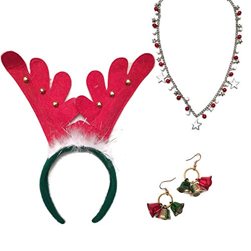 Mixed Women's Ugly Christmas Sweater Party Accessories Bundle: Three Items: One Reindeer Headband with Bells, One Christmas Novelty Necklace, Plus One Pair of Christmas Bells Dangle Earrings
